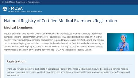 FMCSA Medical Examiner Registration Page opt